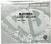 JUSTIFY MY LOVE - USA PROMO CD